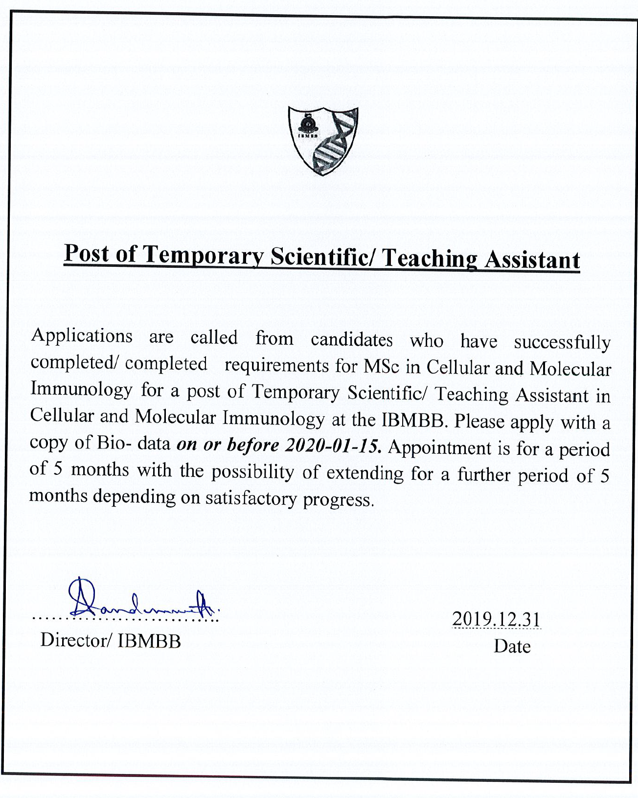 Post Of Temporary Scientific/ Teaching Assistant