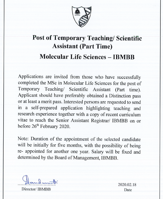 Post of Temporary Teaching/ Scientific Assistant (Part Time)