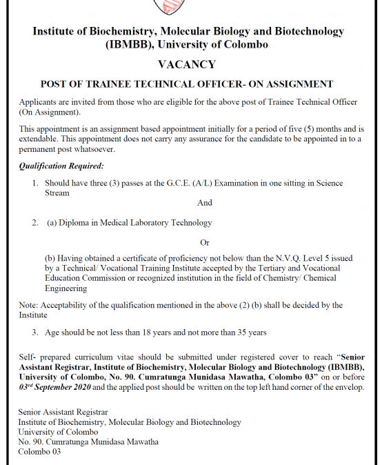 Post of Trainee Technical Officer- On Assignment