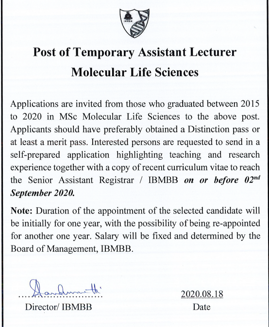 Post of Temporary Assistant Lecturer (MLS)